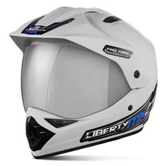 Capacete Liberty MX Pro Vision Branco Viseira Cromada