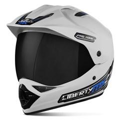 Capacete Liberty MX Pro Vision Branco Viseira Fumê