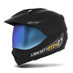 Capacete Liberty MX Pro Vision Preto Fosco Viseira Camaleão