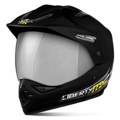 Capacete Liberty MX Pro Vision Preto Fosco Viseira Cromada