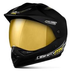 Capacete Liberty MX Pro Vision Preto Fosco Viseira Dourada