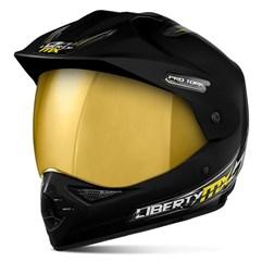 Capacete Liberty MX Pro Vision Preto Viseira Dourada