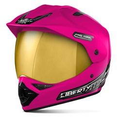 Capacete Liberty MX Pro Vision Rosa Viseira Dourada