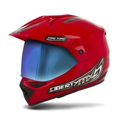 Capacete Liberty MX Pro Vision Vermelho Viseira Camaleão