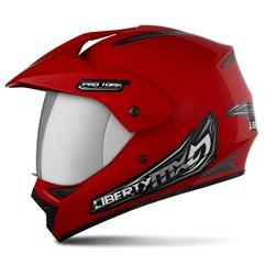 Capacete Liberty MX Pro Vision Vermelho Viseira Cromada