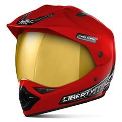 Capacete Liberty MX Pro Vision Vermelho Viseira Dourada