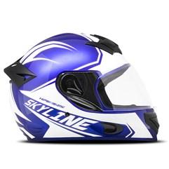 Capacete Mixs MX2 Skyline Azul e Branco Brilhante