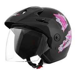 Capacete Moto Aberto Pro Tork Atomic For Girls Preto