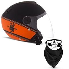 Capacete Moto Aberto Pro Tork New Atomic HD Skull Riders Preto e Laranja