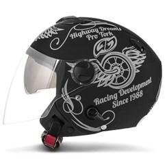 Capacete Moto Aberto Pro Tork New Atomic Highway Dreams Preto Fosco