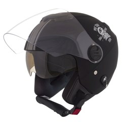 Capacete Moto Aberto Pro Tork New Atomic Skull Riders Preto/Prata