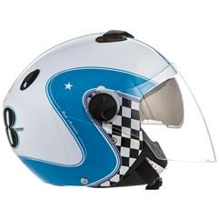 Capacete Moto Aberto Pro Tork New Atomic Vintage Branco/Azul