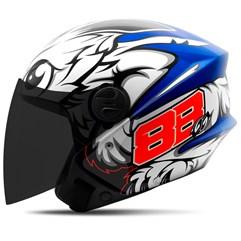 Capacete Moto Aberto Pro Tork New Liberty 3 GP 88 + Viseira Fumê Azul