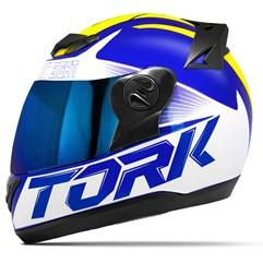Capacete Moto Pro Tork Evolution G7 Azul Brilhante + Viseira Iridium Azul - Amarelo