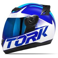 Capacete Moto Pro Tork Evolution G7 Azul Brilhante + Viseira Iridium Azul - Azul Claro