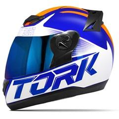 Capacete Moto Pro Tork Evolution G7 Azul Brilhante + Viseira Iridium Azul - Laranja
