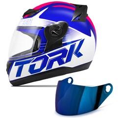 Capacete Moto Pro Tork Evolution G7 Azul Brilhante + Viseira Iridium Azul - Rosa