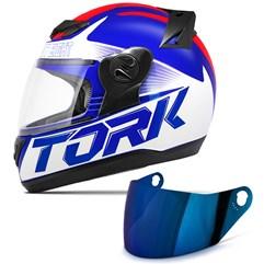 Capacete Moto Pro Tork Evolution G7 Azul Brilhante + Viseira Iridium Azul - Vermelho