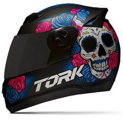 Capacete Moto Pro Tork Evolution G7 Mexican Skull Fosco + Viseira Fumê
