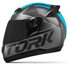 Capacete Moto Pro Tork Evolution G7 Preto Brilhante + Viseira Fumê Preto - Azul