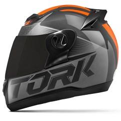 Capacete Moto Pro Tork Evolution G7 Preto Brilhante + Viseira Fumê Preto - Laranja