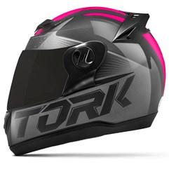 Capacete Moto Pro Tork Evolution G7 Preto Brilhante + Viseira Fumê Preto - Rosa