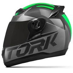 Capacete Moto Pro Tork Evolution G7 Preto Brilhante + Viseira Fumê Preto - Verde