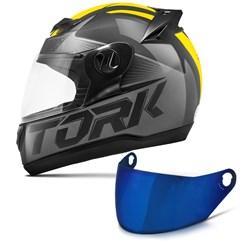 Capacete Moto Pro Tork Evolution G7 Preto Brilhante + Viseira Iridium Preto - Amarelo