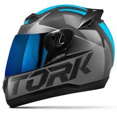 Capacete Moto Pro Tork Evolution G7 Preto Brilhante + Viseira Iridium Preto - Azul