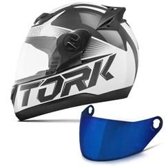 Capacete Moto Pro Tork Evolution G7 Preto Brilhante + Viseira Iridium Preto - Branco