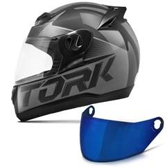Capacete Moto Pro Tork Evolution G7 Preto Brilhante + Viseira Iridium Preto - Cinza