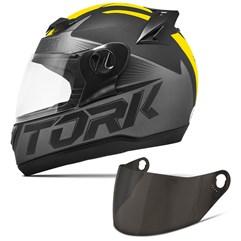 Capacete Moto Pro Tork Evolution G7 Preto Fosco + Viseira Fumê Preto - Amarelo
