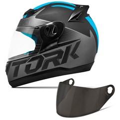 Capacete Moto Pro Tork Evolution G7 Preto Fosco + Viseira Fumê Preto - Azul