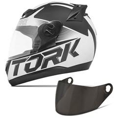 Capacete Moto Pro Tork Evolution G7 Preto Fosco + Viseira Fumê Preto - Branco