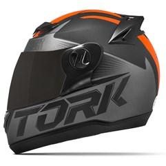 Capacete Moto Pro Tork Evolution G7 Preto Fosco + Viseira Fumê Preto - Laranja