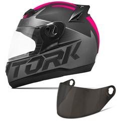 Capacete Moto Pro Tork Evolution G7 Preto Fosco + Viseira Fumê Preto - Rosa