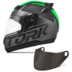 Capacete Moto Pro Tork Evolution G7 Preto Fosco + Viseira Fumê Preto - Verde