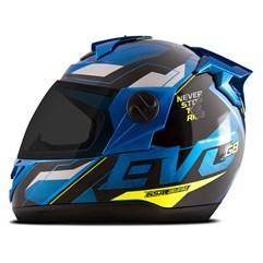 Capacete Moto Pro Tork Evolution G8 Evo Azul e Amarelo - Viseira Fumê