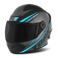 Capacete Moto Pro Tork R8 Narigueira + Viseira Fumê Azul Claro