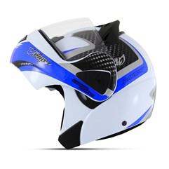 Capacete Moto Robocop Escamoteável Pro Tork V-Pro Jet 2 Branco/Azul