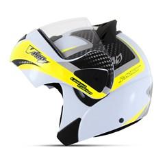 Capacete Moto Robocop Escamoteável Pro Tork V-Pro Jet 2 Branco e Amarelo