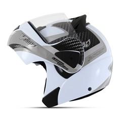 Capacete Moto Robocop Escamoteável Pro Tork V-Pro Jet 2 Branco e Cinza