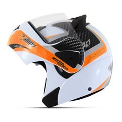 Capacete Moto Robocop Escamoteável Pro Tork V-Pro Jet 2 Branco e Laranja