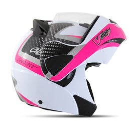 Capacete Moto Robocop Escamoteável Pro Tork V-Pro Jet 2 Branco e Rosa