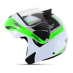 Capacete Moto Robocop Escamoteável Pro Tork V-Pro Jet 2 Branco e Verde