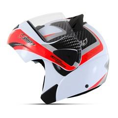 Capacete Moto Robocop Escamoteável Pro Tork V-Pro Jet 2 Branco e Vermelho