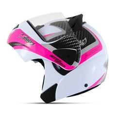 Capacete Moto Robocop Escamoteável Pro Tork V-Pro Jet 2 Branco/Rosa