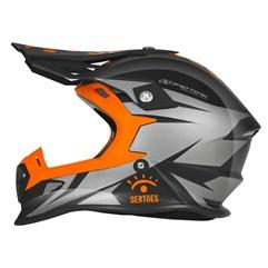 Capacete Motocross Pro Tork Fast Rally dos Sertões Brilhante Grafite - Laranja