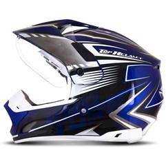 Capacete Motocross Pro Tork TH1 Vision Adventure Azul/Branco