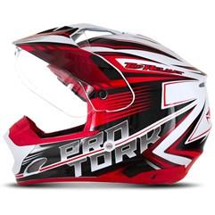 Capacete Motocross Pro Tork TH1 Vision Adventure Branco/Vermelho